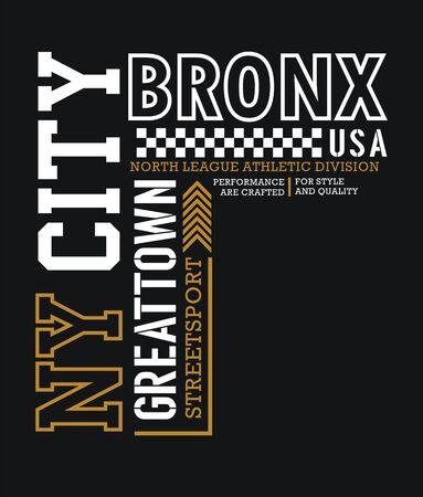 NY City Bronx typography varsity USA style, t-shirt and various uses, vectors Vektorové ilustrace