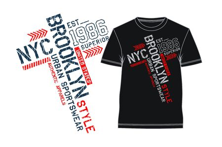 Typography NYC Brooklyn, USA style for T-shirt print graphics. Vector illustrations Ilustração