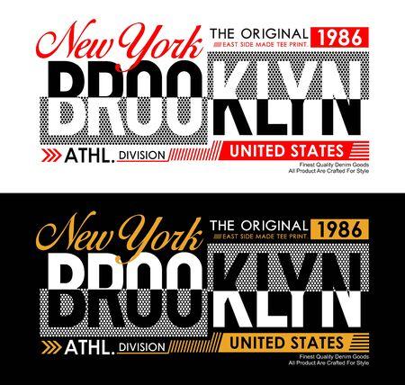 New York Brooklyn Typografie USA-Stil für T-Shirt-Grafiken. Vektorillustrationen Vektorgrafik