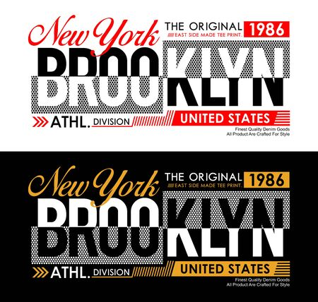 New York Brooklyn typography USA style for T-shirt graphics. Vector illustrations