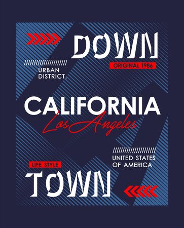 Downtown LA California typography USA style for T-shirt graphics. Vector illustrations  イラスト・ベクター素材