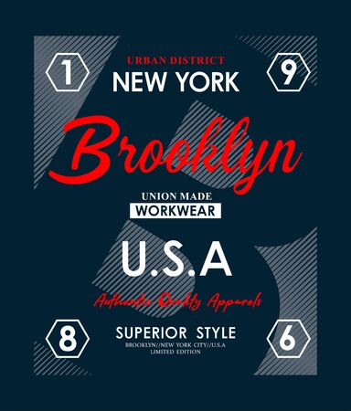 Brooklyn, slogan for t-shirt design. Tee shirt typography graphics, vector.