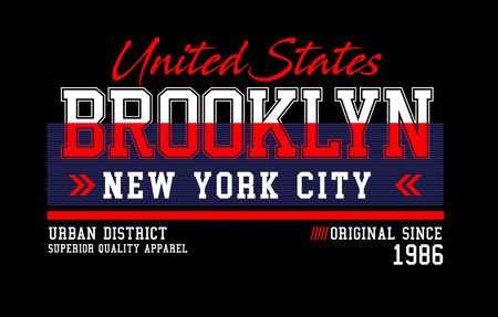 Brooklyn, united states, t-shirt print and other jobs. Vectors
