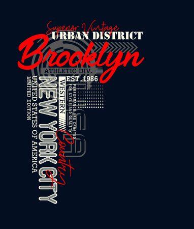 Brooklyn, urban district, t-shirt print and other jobs. Vectors Ilustração