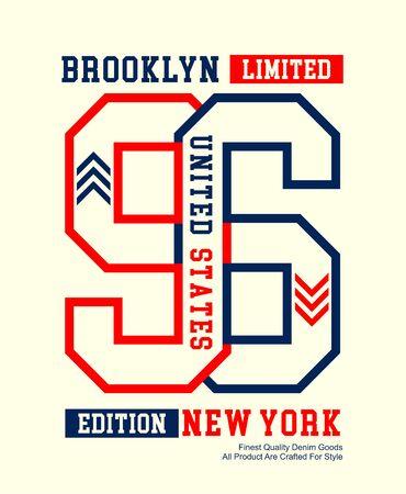 New York, Brooklyn 96, t-shirt print and other jobs. Vectors