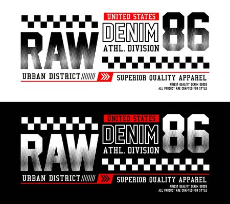 Raw Denim 86, t-shirt print and other jobs. Vectors