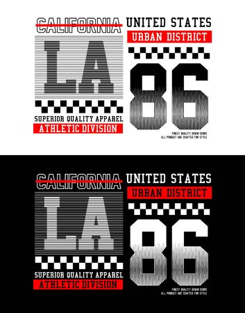 LA, California sport, t-shirt print, label and for other jobs. Vector illustration.