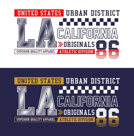 LA, California,  t-shirt print, label and for other jobs. Vector illustration.