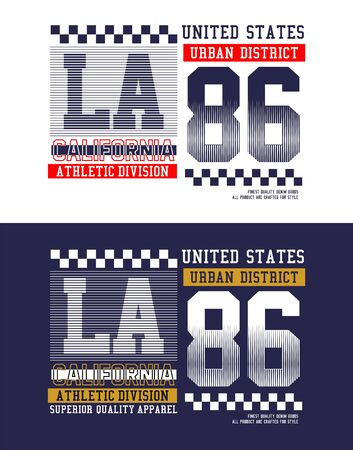LA 86, united states, t-shirt print, label and for other jobs. Vector illustration.