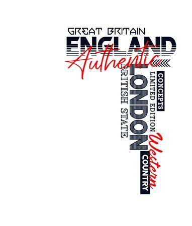 Athletic England, t-shirt print, label and for other jobs. Vector illustration. Ilustração