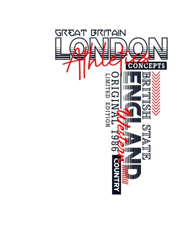 London, England sport, t-shirt print, label and for other jobs. Vector illustration.