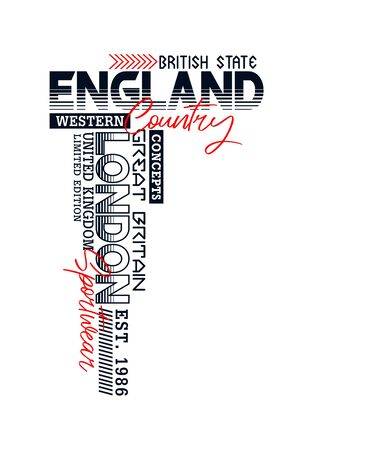 England, London sport t-shirt print, label and for other jobs. Vector illustration.