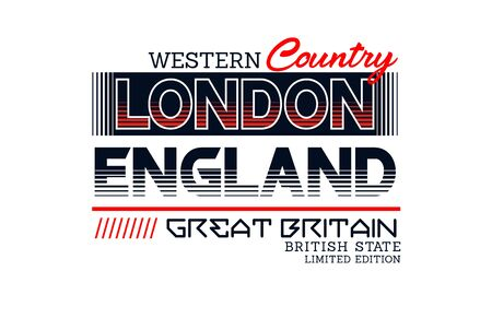 London, England, t-shirt print, label and for other jobs. Vector illustration.