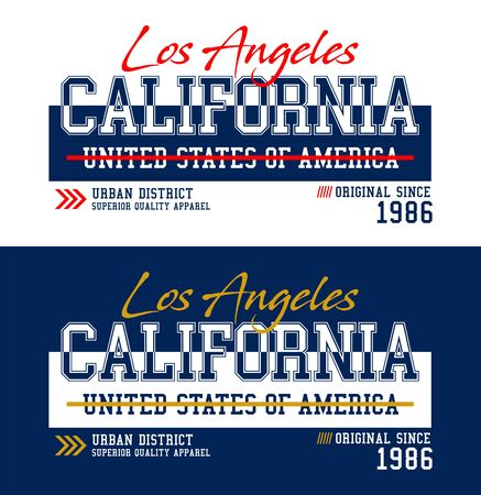 Los Angeles, California,  t-shirt print, label and for other jobs. Vector illustration.