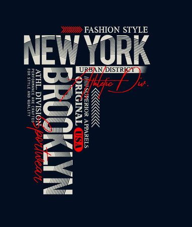 Athletic New York, Brooklyn,  t-shirt print, label and for other jobs. Vector illustration.