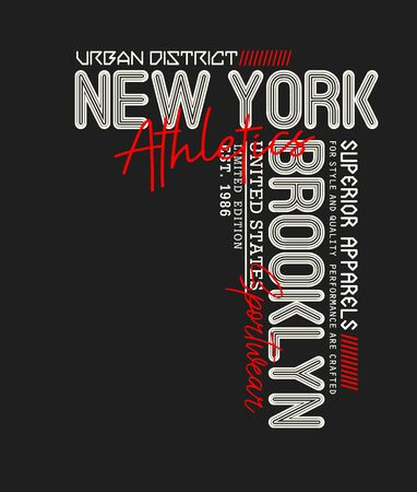 New York, Brooklyn,  t-shirt print, label and for other jobs. Vector illustration.