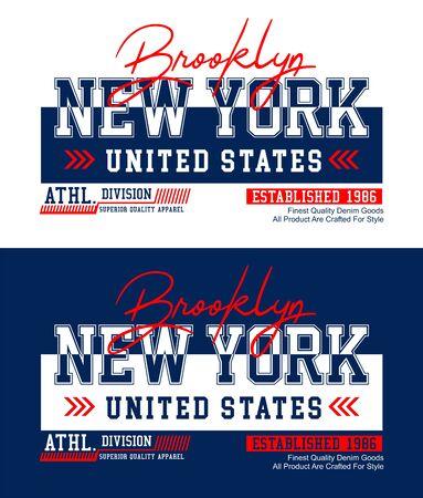 Brooklyn, New York,  t-shirt print, label and for other jobs. Vector illustration. Ilustração