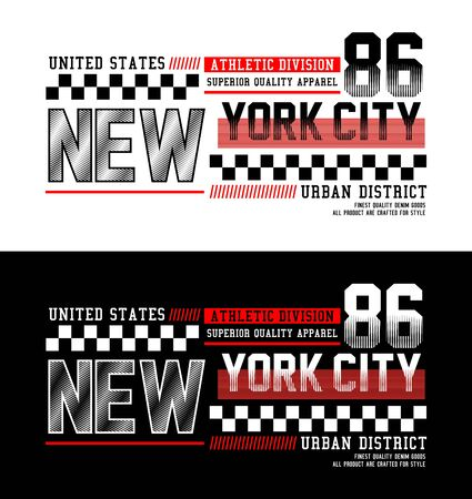 New York City, t-shirt print, label, casual wear and for other jobs. Vector.