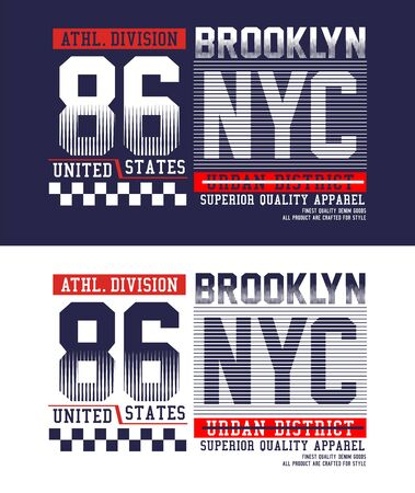 NYC Brooklyn t-shirt print, label, casual wear and for other jobs. Vector.