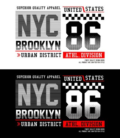 NYC, Brooklyn 86, t-shirt print, label and casual wear. Vector.