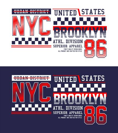 NYC Brooklyn for t-shirt print, label and casual wear. Vector.