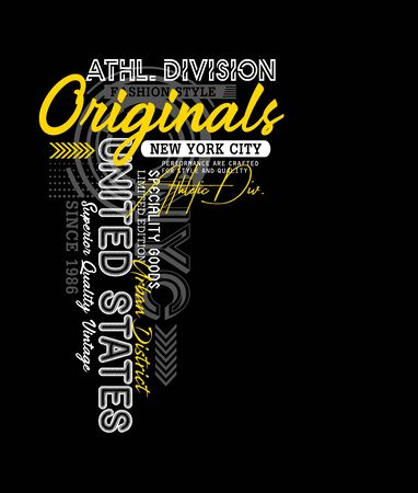 Athletic sport, t-shirt print, label and casual wear. Vector.