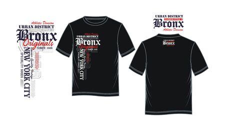 Bronx, New York City, t-shirt print, label and casual wear. Vector. Ilustração