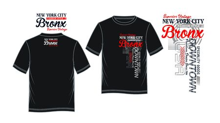 Bronx, downtown, t-shirt print, label and casual wear. Vector.