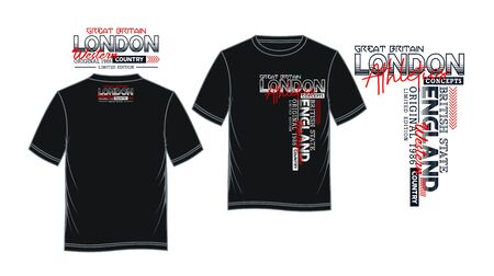 London, England, t-shirt print, label and casual wear. Vector.