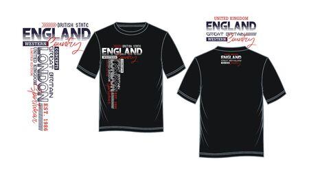 England, London for t-shirt print, label and casual wear. Vector. Ilustração