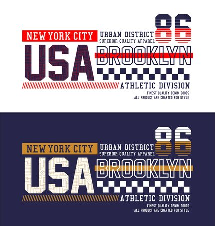 USA, New York City, t-shirt print, label,casual wear and for other jobs. Vector.