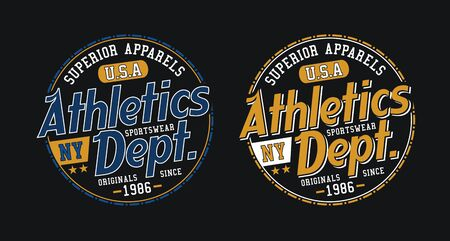 Athletic sport, for t-shirt design. Tee shirt typography graphics, vector.