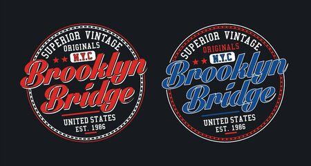 Brooklyn bridge, for t-shirt design. Tee shirt typography graphics, vector.