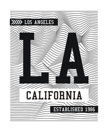 LA California, slogan for t-shirt design. Tee shirt typography graphics, vector.