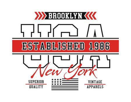 Brooklyn sport, USA stylish t-shirt and apparel trendy design, typography, print, vector illustration.