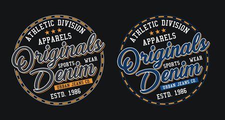 Denim sport, stylish t-shirt and apparel trendy design, typography, print, vector illustration.