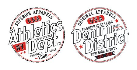 Set Athletic denim, stylish t-shirt and apparel trendy design, typography, print, vector illustration. Ilustração