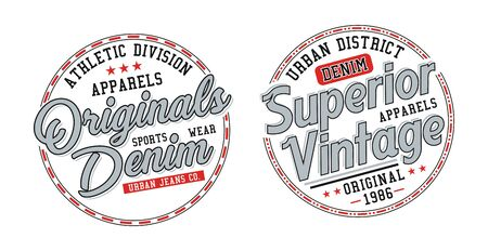 Set superior denim, stylish t-shirt and apparel trendy design, typography, print, vector illustration.