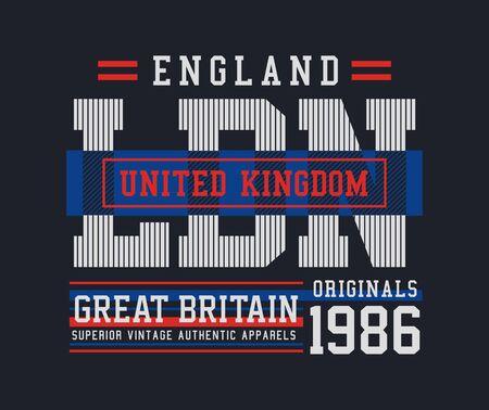 England, United Kingdom, stylish t-shirt and apparel trendy design, typography, print, vector illustration.