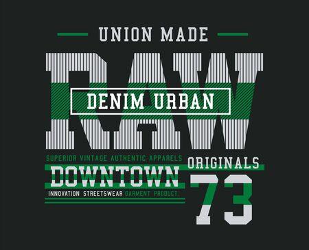 Denim urbano, elegante t-shirt e abbigliamento dal design alla moda, tipografia, stampa, illustrazione vettoriale. Vettoriali