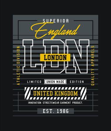 London, England, stylish t-shirt and apparel trendy design, typography, print, vector illustration.
