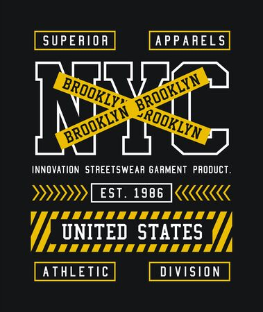 NYC, Brooklyn, t-shirt and apparel design, typography, print, poster. vector