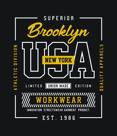 USA, Brooklyn, t-shirt and apparel design, typography, print, poster. vector