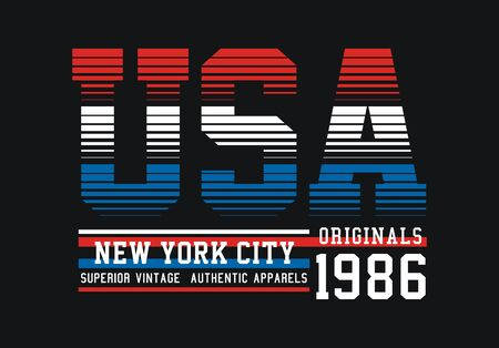 USA, New York City, t-shirt and apparel design, typography, print, poster. vector Ilustração