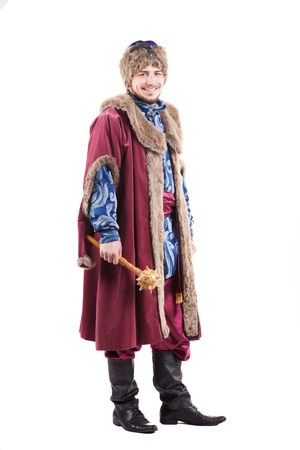 armed young cossack in national ukrainian dress isolated on white background Stock Photo