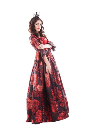 queen of hearts: Queen of hearts. Creative young lady in black and red colors dress