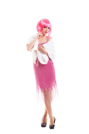 flirtatious: Pink hair girl dressed as Merelyn Monroe isolated on white background
