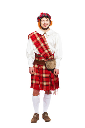 kilt: Scottish traditions concept with person wearing kilt isolated on white Stock Photo