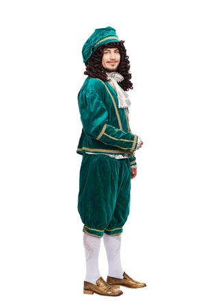 Portret van de Middeleeuwen man in het rood kostuum op een witte achtergrond Stockfoto - 37982145