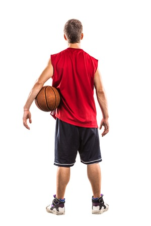 dribble: Basketball player dribble with ball  isolated on white Stock Photo